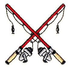 Stitchitize Embroidery Design: Crossed Fishing Poles 1.85 inches H x 1.81 inches W