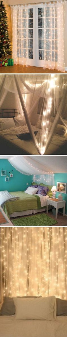 Pre-Lit Curtain Panels <3 Love these! Light up Your Bed or Use at Christmas ..So many cool Uses!