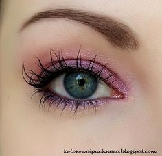 "Lucy Minerals ""Rose Shimmer"" shadow + ""Plum"" liner. Primer&mascara Revitalash."