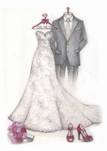 Wedding dress sketch for the first anniversary. Gown, suit, bouquet and shoes sketch by Catie Stricker-Howell Dress Design Sketches, Fashion Design Sketches, Wedding Dress Drawings, Wedding Painting, Gown Suit, Fashion Design Portfolio, Wedding Illustration, Fairy Pictures, Fantasy Dress