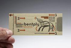 Business card forming Gerald Summers' classical chair.  Designer: Richard C Evans  Customer: Bentply