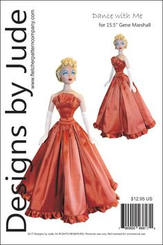 Dance with Me Gown Doll Clothes Sewing Pattern for Gene Marshall Wedding Dress Sewing Patterns, Doll Sewing Patterns, Doll Clothes Patterns, Clothing Patterns, Dress Patterns, Best Shoe Rack, Outlander Wedding, Legal Size Paper, Fashion Seasons