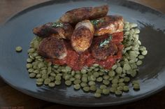 Sausage & Lentils. A Popular Dish in Umbria, Italy. Plate courtesy of Il Buco Vita; NYC.