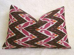 Zig Zag Ikat Decorative Designer Pillow  Brown  by WillaSkyeHome, $30.00