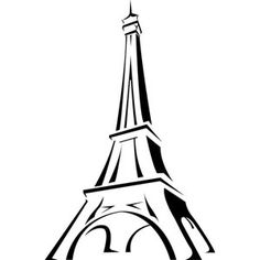 eiffel tower in france line art vector drawing vector city tower illustration | Vector_city_0000049