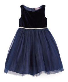 This Navy Velvet-Top Rhinestone Belted Dress - Toddler & Girls is perfect! #zulilyfinds