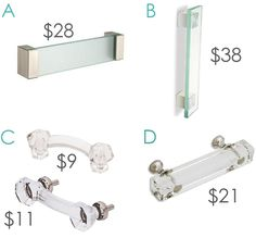 Clear glass pulls - hardware for cabinets