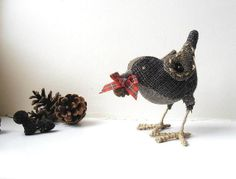 Christmas Bird stuffed figurine soft sculpture Home Decor brown woodland ornament with pine cone