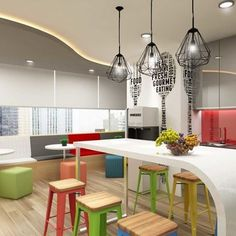 Colorful pantry will make you love your office more! .  We provide one stop solution for Corporate Offices design and build, Office Reinstatement and Building Refurbishment. Enquiry please contact : KL HQ - 603 9130 7226 Kota Kinabalu - 6088 387 226  Email - ckyids@gmail.com .  #ckyinteriordesign #interiordesign  #designideas #officedesign #officeinteriors #coporatedesign #office #officeinspiration #designbuild #officefurniture #workplace #workenvironment #interiors #malaysiainteriors…