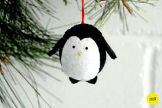Try out this cute, DIY ornament tutorial! Homemade Christmas crafts with penguins are the best.