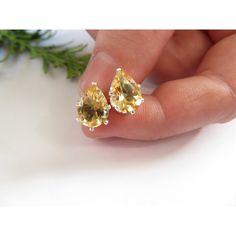 Citrine studs, Sterling Silver earrings, Semi precious gemstone studs,... ($43) via Polyvore featuring jewelry, earrings, citrine earrings, stud earrings, sterling silver jewelry, wrap earrings and christmas tree earrings