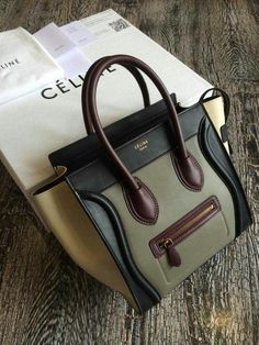 3029fdce315 Get one of the hottest styles of the season! The Celine Micro Luggage -  Tricolor Brown   Green   Beige Tote Bag is a top 10 member favorite on  Tradesy.