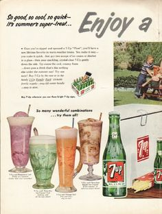 """1953 7-UP vintage magazine advertisement """"So good, so cool"""" ~ So good, so cool, so quick -- it's summer's super-treat ... Enjoy a 7-Up """"Float""""! - Your favorite ice cream with sparkling 7-Up ... 7-Up and Raspberry Ice - 7-Up and Pistachio Ice Cream - ..."""