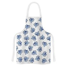 KESS InHouse Jennifer Rizzo Blue Garden Flowers Floral White Artistic Apron * Details can be found by clicking on the image. Kitchen Sink Accessories, Gardening Apron, Blue Garden, Outdoor Gardens, Floral, Artist, Flowers, Urban, Image