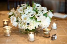 Not this exact centerpiece, but size and shape...using your flowers, and a few whisper pieces such as stock and sweet pea.  Lavender and white... would you want it a little more airy with more greenery.