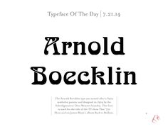 Today's typeface is Arnold Boecklin   Catapult Strategic Design   Moving Brands Forward Since 1999 www.catapultu.com #type #typography #graphicdesign #fonts #design