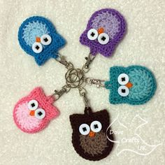 Cute Owl Key Ring, Handmade Crochet (Keyring, key chain, fob, gift)