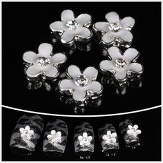 wholesale 100pcs White flower 3D Alloy Nail Art / DIY Nail decoration * Check out this great product.