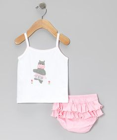 Look what I found on #zulily! Pink Hippo Tank & Ruffle Diaper Cover - Infant by Albo Bebé #zulilyfinds