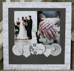 Wedding Scrapbook Pages, Love Scrapbook, Scrapbook Page Layouts, Scrapbook Supplies, Scrapbook Cards, Heritage Scrapbooking, Digital Scrapbooking, Photo Layouts, Wedding Guest Book
