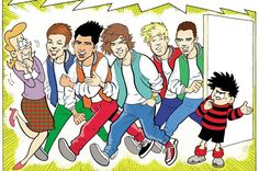 One Direction drawn as a cartoon in Beano