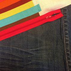 Progress shot. I'm a sucker for a red zipper. .  www.edandhoolia.com.au  #handmade #denim #cushions #upcycled #sustainable #colourful #homewares #interiors #denimlovers  #textiles #artisan #styling #bespoke