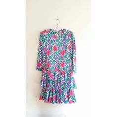 Vintage Adrianna Papell Purple Green Pink Abstract Print Puff Shoulder Midi Tiered Silk Dress 10 Medium