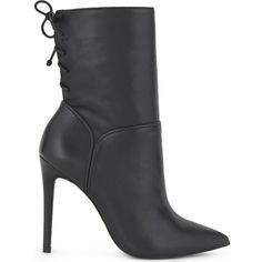 Aldo Angnes leather heeled ankle boots ($46) ❤ liked on Polyvore featuring shoes, boots, ankle booties, black leather booties, short black boots, ankle boots, lace up booties and high heel stilettos