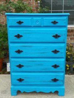Houston: Ocean Blue 5 Drawer Dresser $165 - http://furnishlyst.com/listings/1008368