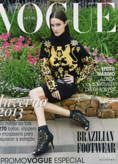 Mariana Coldebella featured on the Vogue Brazil cover from February 2013