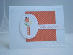 Deb made a super easy card with Bright Blossoms, Sweet Essentials, & Summer Smooches dsp. The Designer Frames embossing folder is the perfect touch.