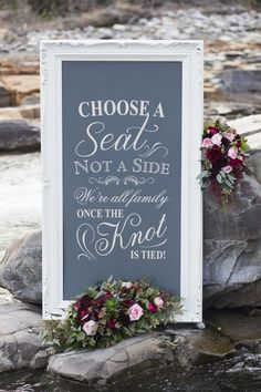 Choose a seat not a side rustic chalkboard. Perfect inspiration for rustic #wedding!