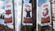 Civic banners: Outdoor advertising for The Design Corner Brand Identity, Branding, Christmas Pops, Pop Up Shops, Case Study, Banners, Advertising, Corner, Projects