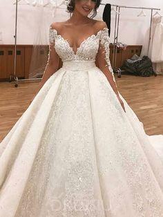 50208bf2104443 Appliques A-Line Long Sleeves Floor-Length Luxury Wedding Dress. Maniche Di  Abito Da SposaAbiti ...