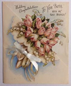 Beautiful Pink Roses Bouquet Satin Ribbon 1940's Vintage Wedding Greeting Card   eBay