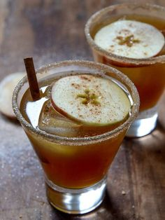 Spiced Amaretto Apple Cider- apple cider, amaretto, spiced rum, honey, sugar, and cinnamon...