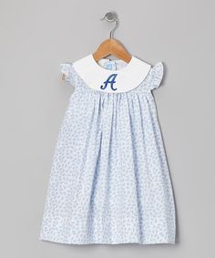Take a look at this White & Blue Bow Initial Float Dress - Infant & Toddler by Monday's Child on #zulily today!