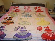Vintage Handcrafted Umbrella Girl Large Square Multicolor Quilt 70 X 64