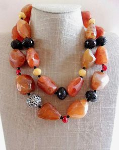 On Sale Candy Apple Red Colored Bead 43 inch Beaded Long Necklace Metal and Clasp Free Flapper Style Costume Jewelry