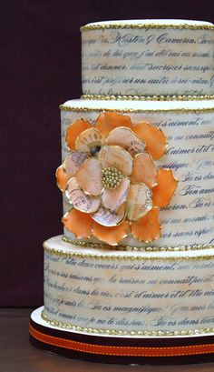Instead of blue script, the top layer of our cake will have gold script or a faint pink script with a message of love my hubby and I will share.