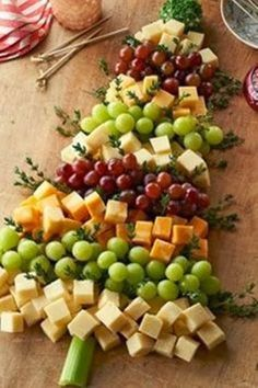 Cheese grape appetizer for Christmas