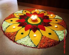 50 Most Beautiful Flower Rangoli Designs (ideas) that you can make during any occasion on the living room or courtyard floors. Simple Flower Rangoli, Rangoli Designs Flower, Rangoli Border Designs, Colorful Rangoli Designs, Rangoli Designs Diwali, Diwali Rangoli, Easy Rangoli, Diwali Decorations At Home, Festival Decorations
