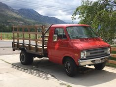 1976 DODGE Sportsman. KSL doesnt list the actual model but its a 1 ton b300. Has been modified into a flat bed truck with custom steel bed and optional wood lattice style side walls. Runs great and a blast to cruise around in, Big Red as we call her, is looking for a new home and another adventure. New Paint New Tires New Bucket Seats (gray) New Alternator Rebuilt Transmission Newer Battery New Windshield Wipers Rear Cargo Lights Passes emissions easily, actually registered not just...
