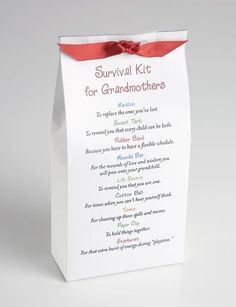 Survival Kit for Grandmothers (possible gift for a coworker who is a new grandma) Gag Gifts, Craft Gifts, Cute Gifts, Funny Gifts, Craft Font, Grandparents Day Crafts, New Grandparent Gifts, Grandmother Gifts, Grandmothers