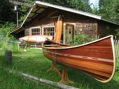 Plentiful rivers and lakes mean fun canoeing. Pack your own or pick one up here in Montana. Would love this for a cabin. Wood Canoe, Canoe Boat, Canoe And Kayak, Canoe Trip, Utility Boat, Wood Boats, Small Boats, Boat Plans, Boat Building
