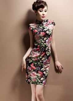 Floral Chinese QiPao - Cheongsam Dress