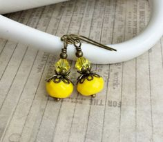 Yellow Earrings Citrine Earrings Antique Gold by SmockandStone