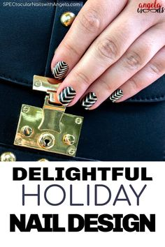 Do you need a holiday design nail idea? Channel an art deco look to ring in the new year with the bold stripes and chevrons of black and gold Drop the Ball nail art! Take your Christmas look to the next level with this holiday nail design. #holidaynails #christmasnails #colorstreetnails #fallnaildesign
