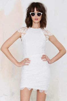 Nasty Gal Levina Lace Dress - White - Spring Flings