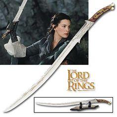 Lord of The Rings Hadhafang Arwen Elven Sword Gold Runes w Scabbard 40 The Hobbit Movies, O Hobbit, Swords And Daggers, Knives And Swords, Lotr Swords, Replica Swords, Elven Princess, Elven Queen, Heavenly Sword